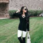 Simple B&W Sweater & OTK Boots