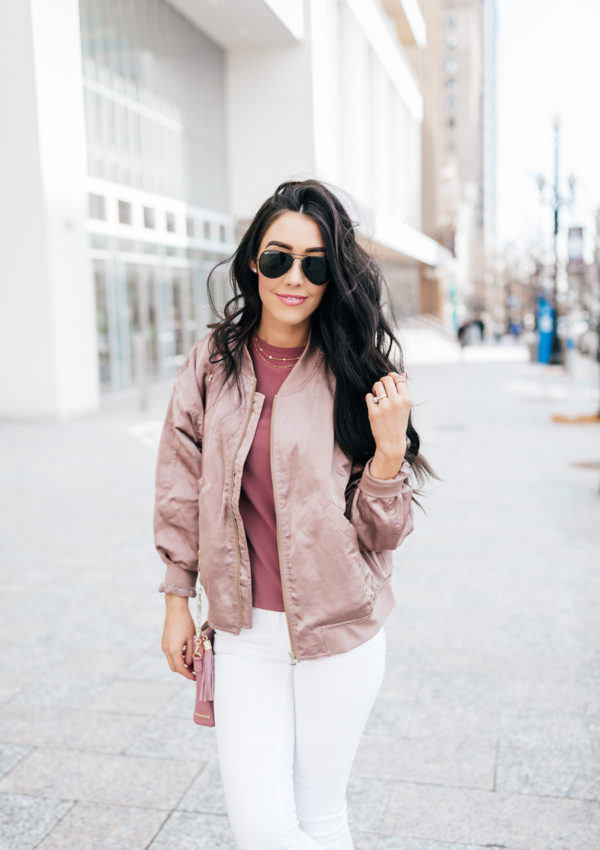 How to Style a Blush Bomber with White Denim