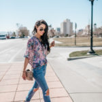 Spring Floral Blouse + Destroyed Denim