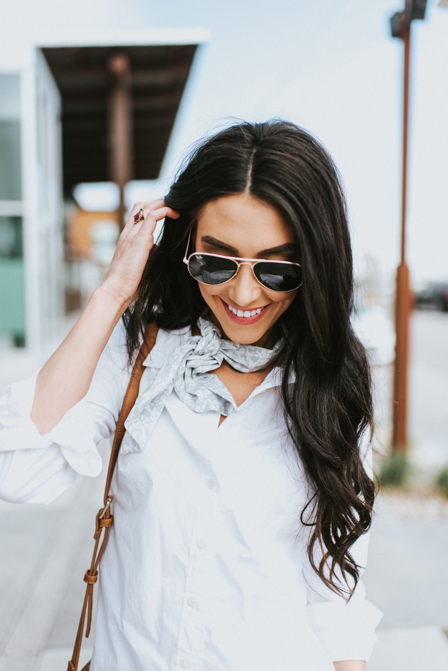 Neck Scarf and White Blouse