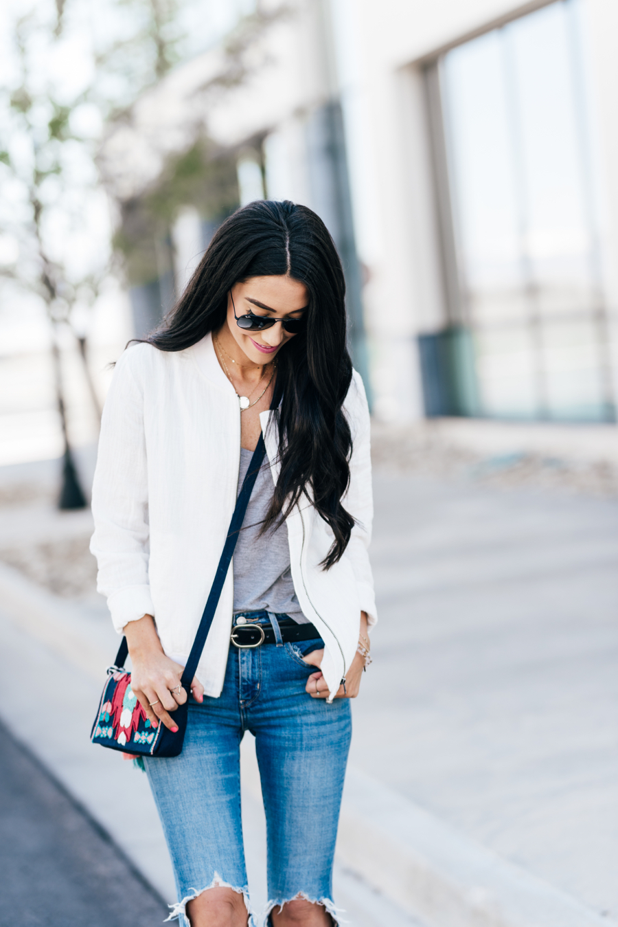 White Linen Bomber Jacket In The Summer Brittany Maddux