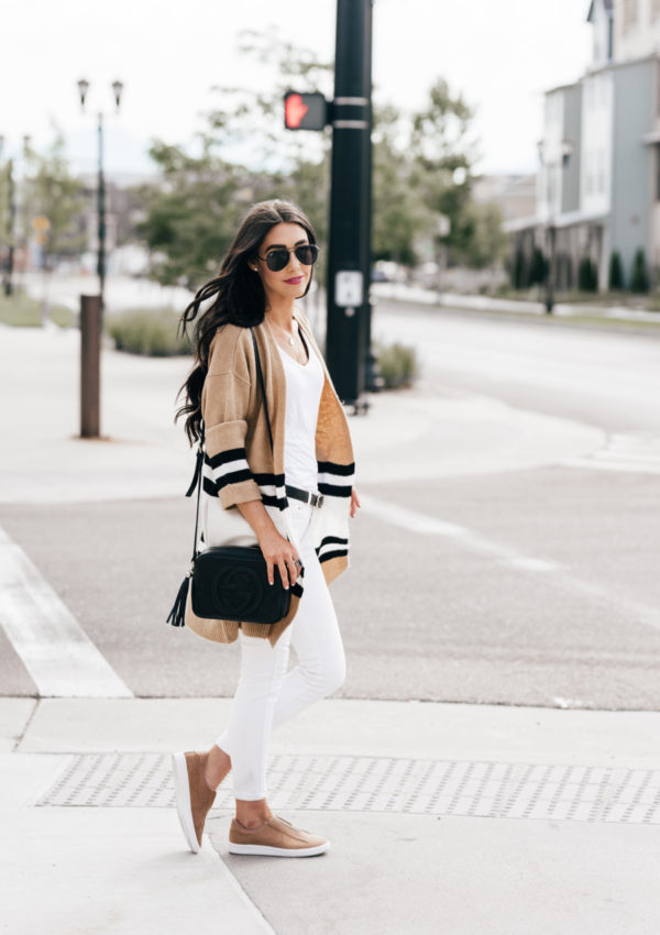 Camel Cardigan + White Jeans