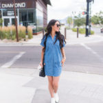 Denim Dress and White Booties