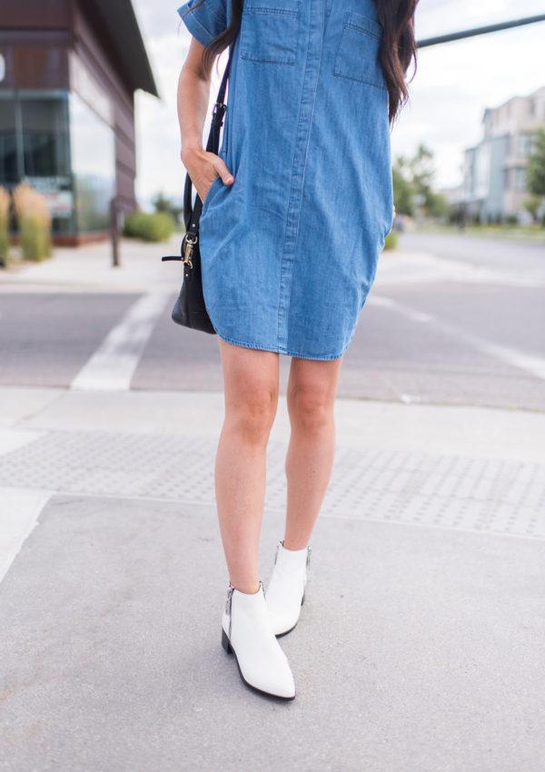 Denim Dress and White Booties