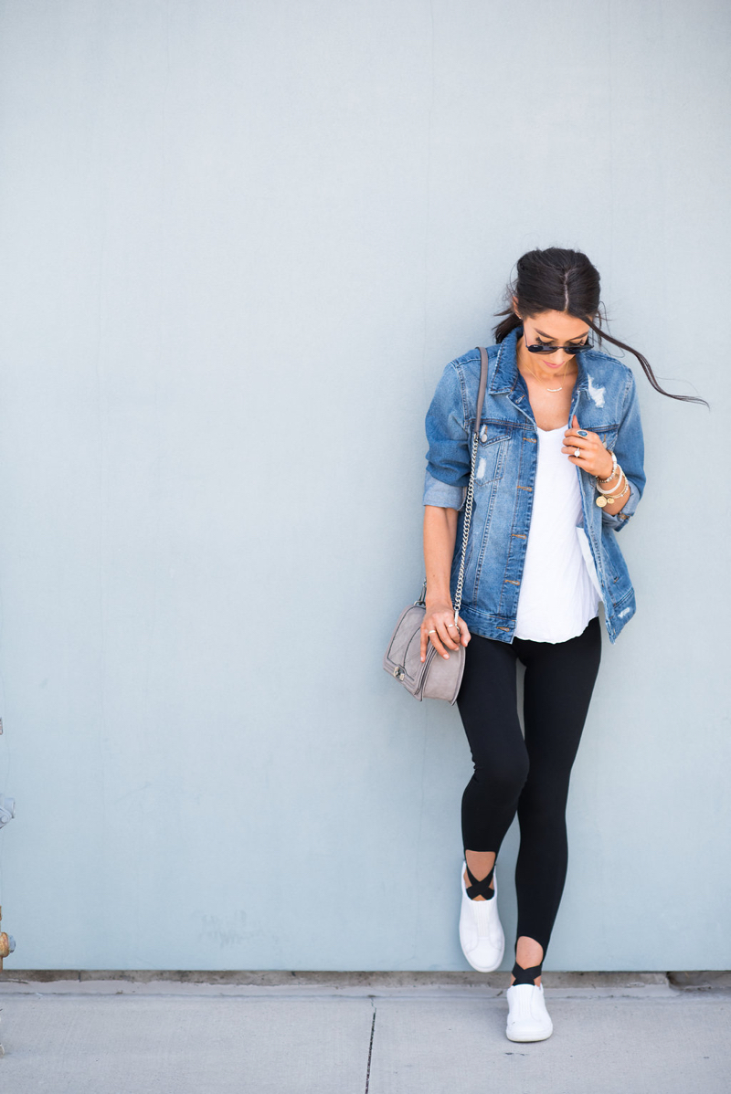 how to wear a denim jacket with leggings  brittany maddux